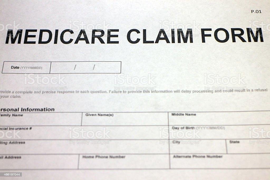 Medicare Claim Paperwork stock photo