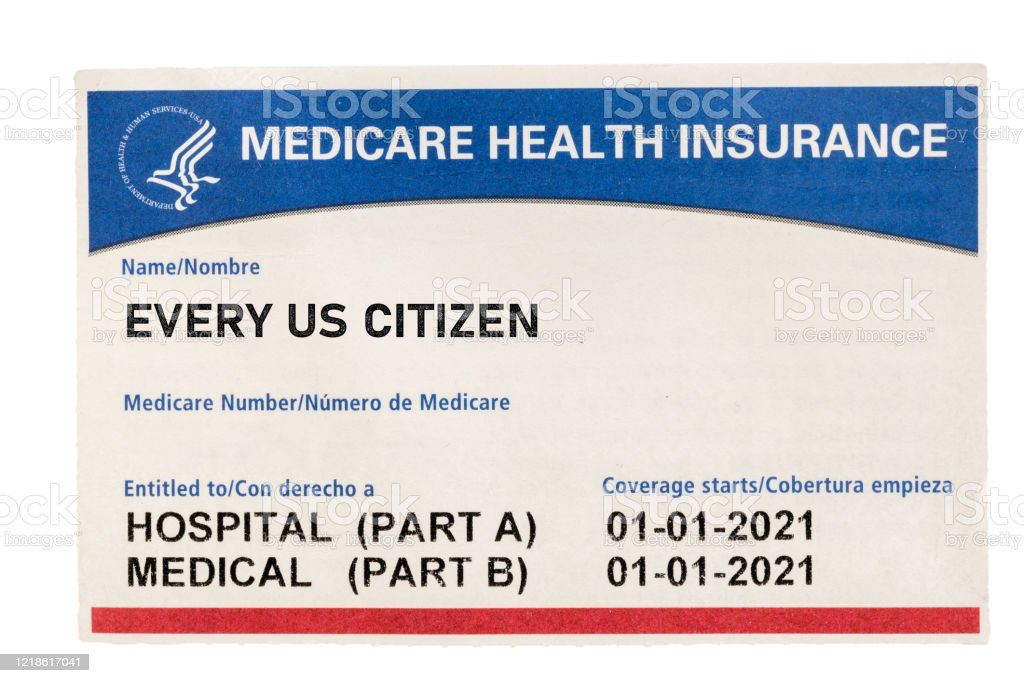 USA medicare health insurance card for US Citizens isolated against white background USA medical insurance card for medicare for every citizen isolated against a white background American Culture Stock Photo