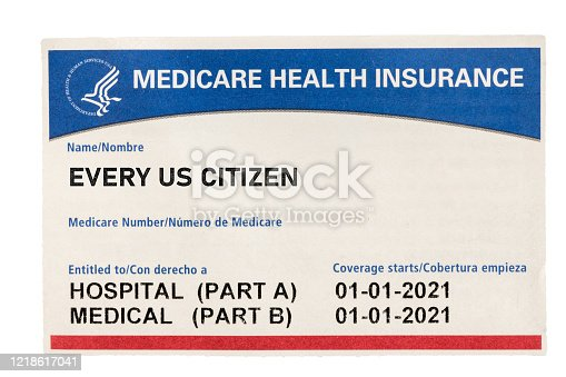 USA medical insurance card for medicare for every citizen isolated against a white background