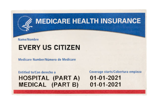 USA medicare health insurance card for US Citizens isolated against white background stock photo