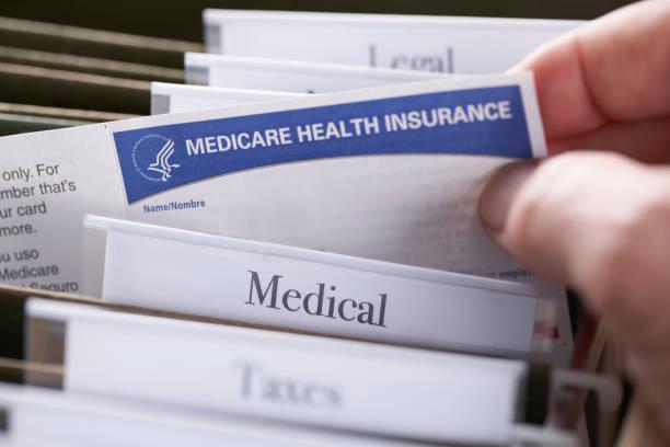 Medicare Health Insurance Card in file folder stock photo