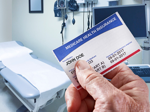Medicare Health Insurance Card In Medical Office Stock ...