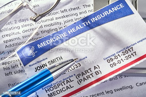 THE SEA RANCH, CALIFORNIA - November 8, 2018: Medicare Health Insurance card on medical report with glasses. Medicare is a national health insurance program provided by the United States for seniors 65 and older. It began in 1966.