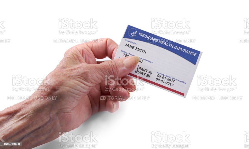 Medicare Health Insurance Card Woman Holding New Card With ...