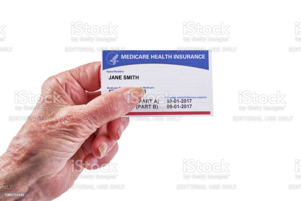 Medicare Health Insurance Card Woman Holding With White ...