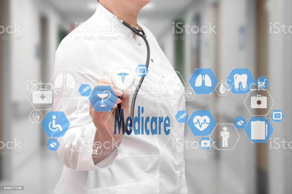 Medicare. Medical Doctor with stethoscope and Medicare icon in Medical network connection on the virtual screen on hospital background. Technology and medicine concept. stock photo