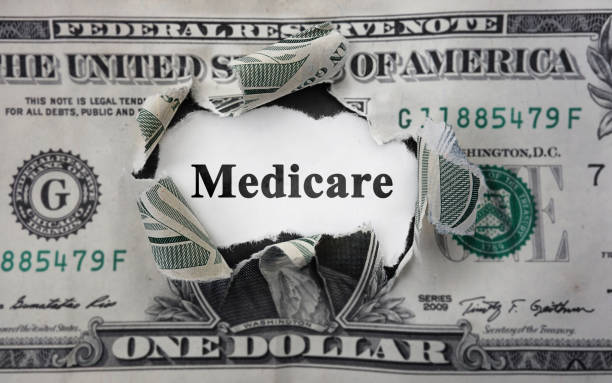 Medicare money news Medicare news headline, inside of torn dollar bill medicare stock pictures, royalty-free photos & images