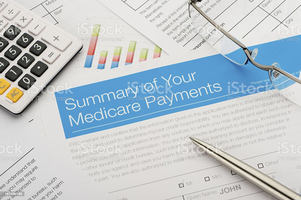 Medicare payments summary stock photo