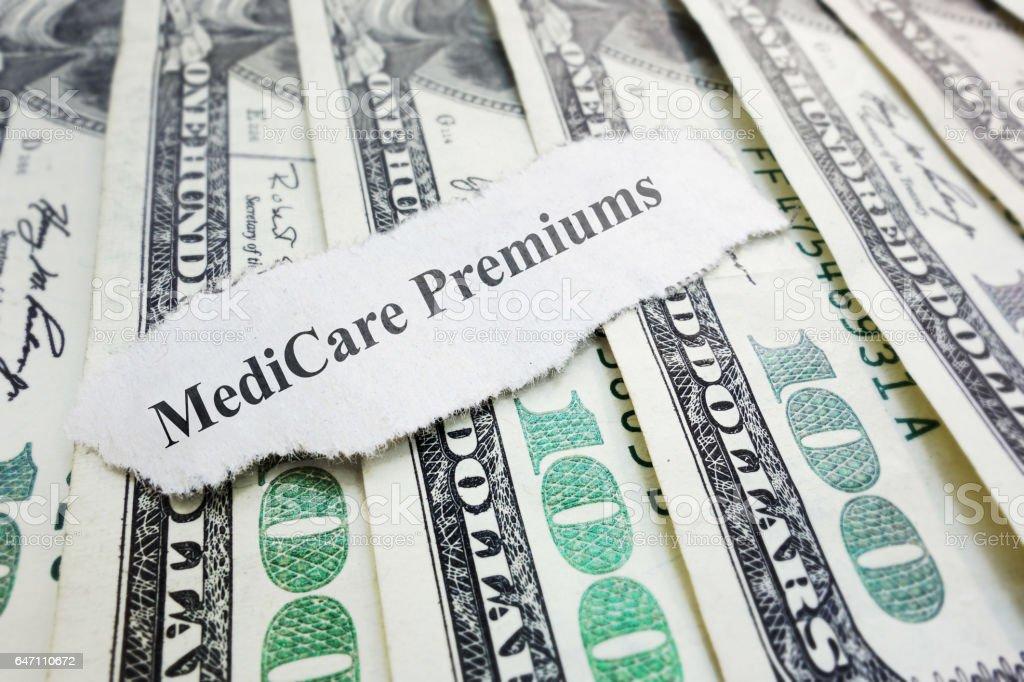 Medicare premiums headline stock photo
