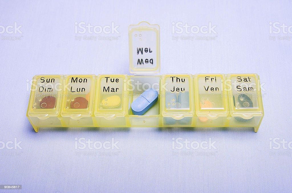 Medication Box - Wednesday royalty-free stock photo