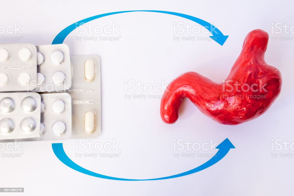 Medication in pills in blister indicate stomach model. Concept photo treatment of gastric diseases, peptic ulcers, gastritis, helicobacter pylori eradication therapy, reducing the acidity of gastric