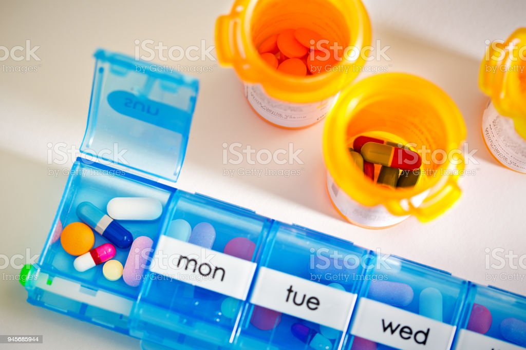 Medication Pill Box Pill Bottle with Prescription Drug, Cost of Healthcare stock photo