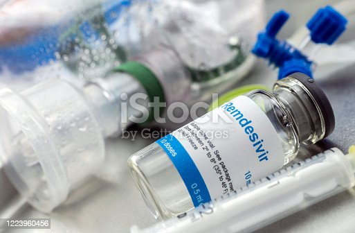 Medication prepared for people affected by Covid-19, Remdesivir is a selective antiviral prophylactic against virus that is already in experimental use, conceptual image