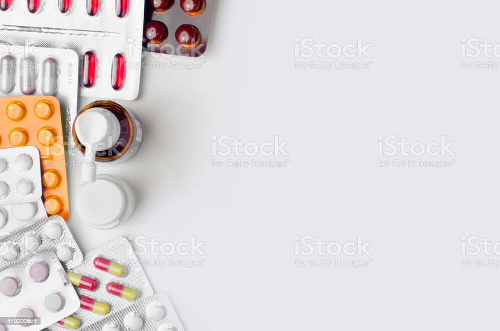 Medications top view stock photo