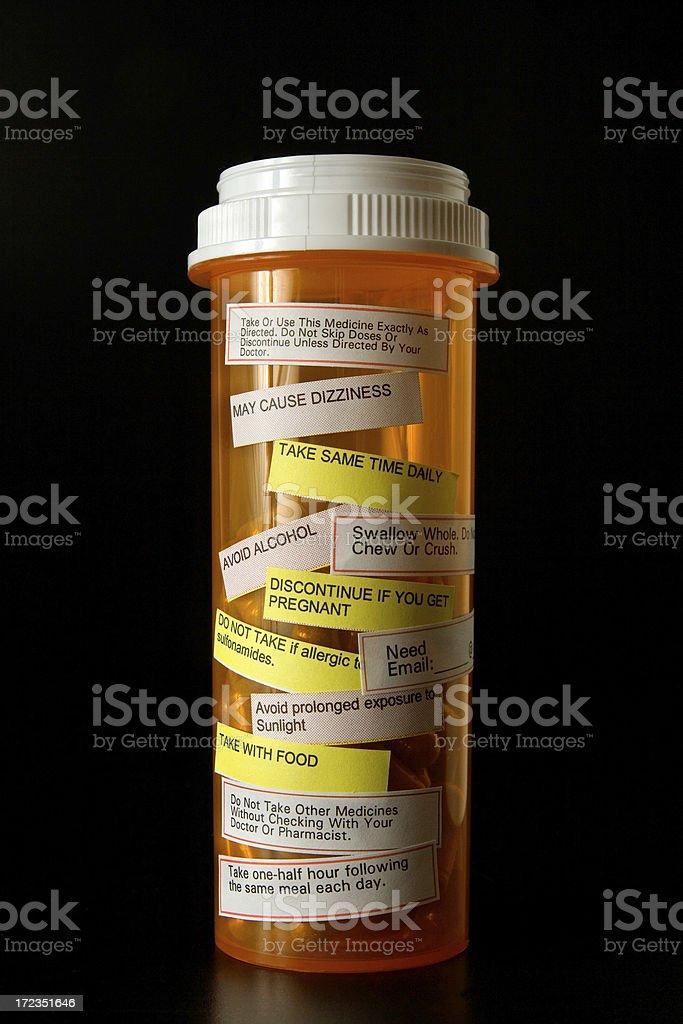 Medicamento, etiquetas de advertencia foto de stock libre de derechos