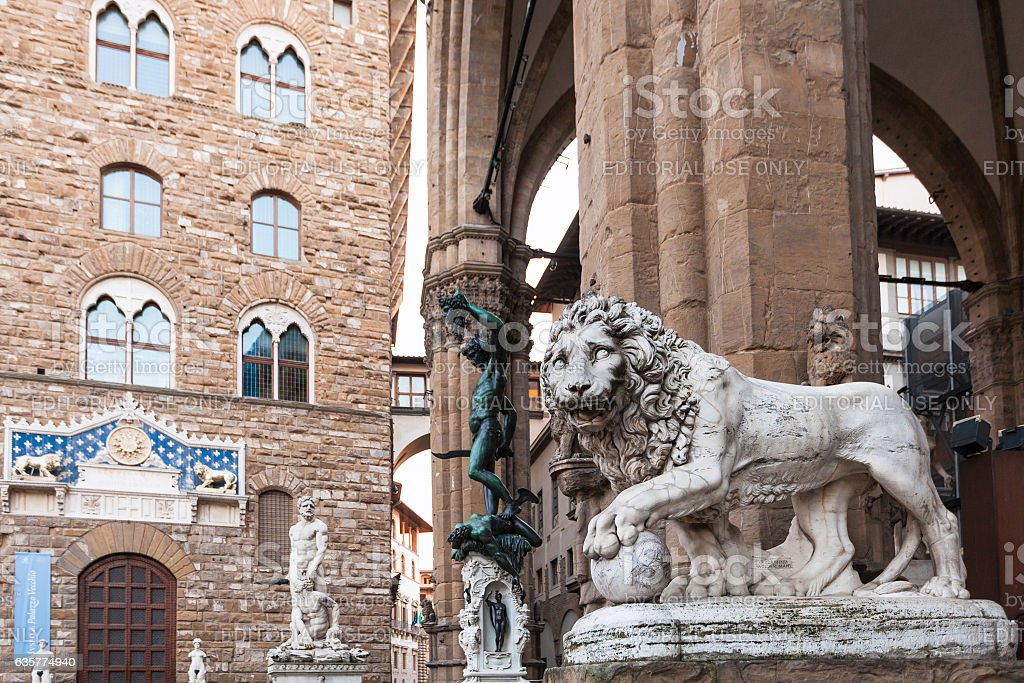 Medici Lion and Perseus statues and Palazzo stock photo