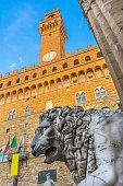 Medici Statue Loggia dei Lanza Piazza della Signoria Florence Italy. Medici Lion from 200 AD Roman Empire