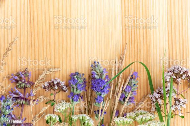 Medicinal herbs lavender oregano sage yarrow on a wooden background picture id1158446596?b=1&k=6&m=1158446596&s=612x612&h=ggq18napeckllgy gdh1axejwcfgsze6xg9wg8eahwe=