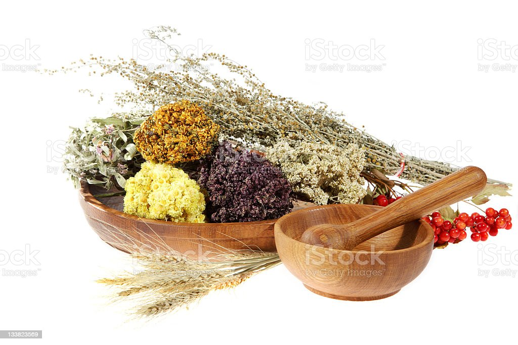 Medicinal herbs on the white background royalty-free stock photo
