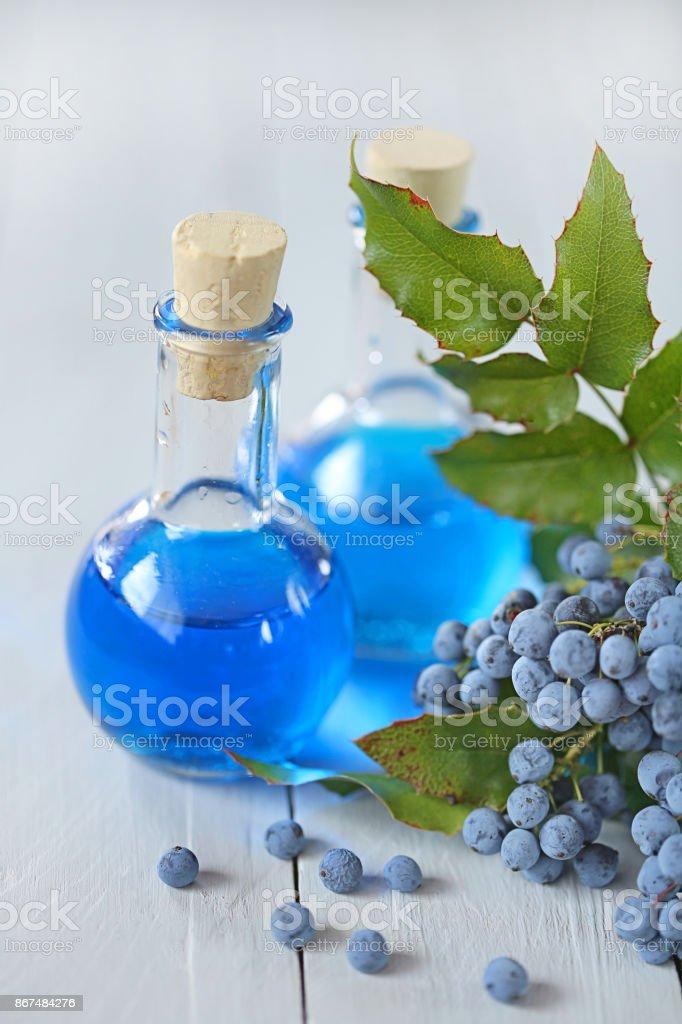 Medicinal Tincture Of Mahonia Aquifolium Homeopathic Bright Blue