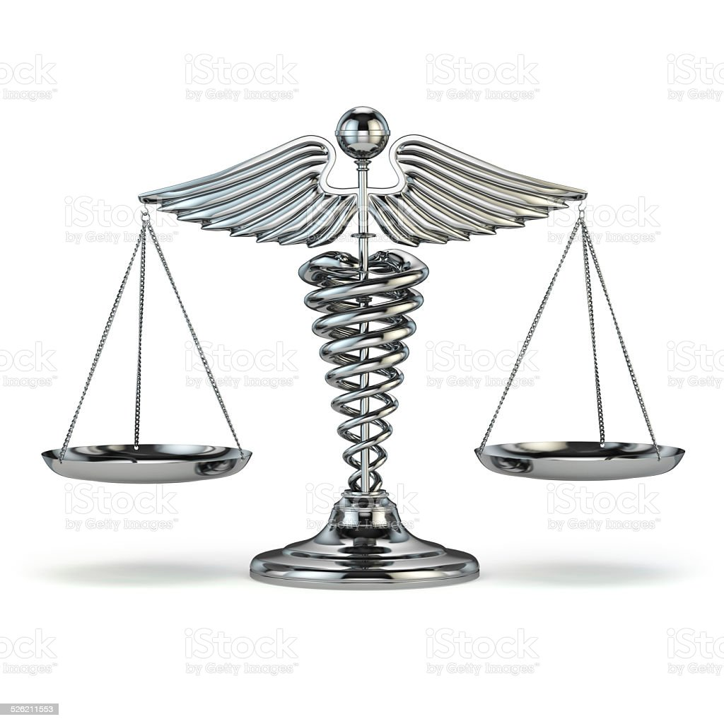 Medicine and justice. Caduceus symbol as scales. Conceptual imag stock photo