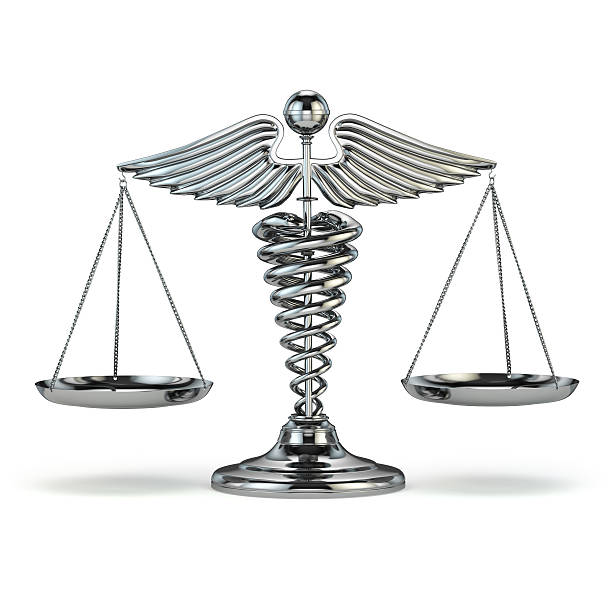 medicine and justice. caduceus symbol as scales. conceptual imag - caduceus stock pictures, royalty-free photos & images