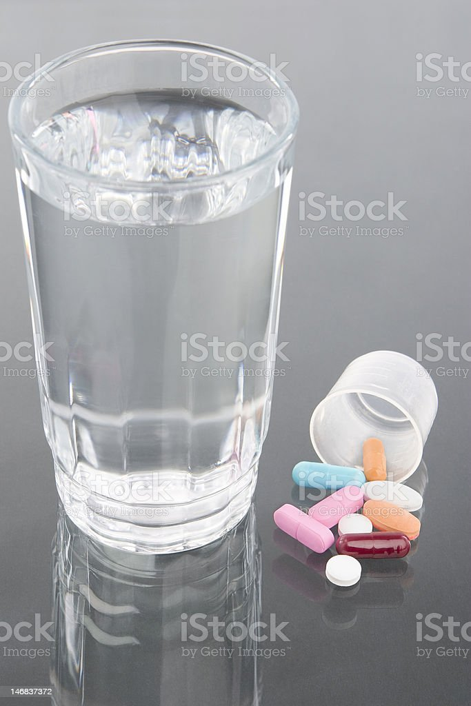 Medicine and water royalty-free stock photo