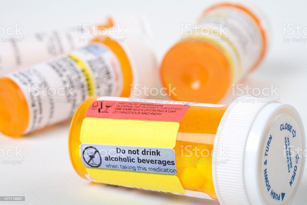 Medicine bottle with warning stock photo