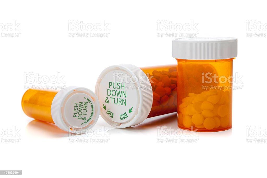 Medicine bottles on a white background stock photo