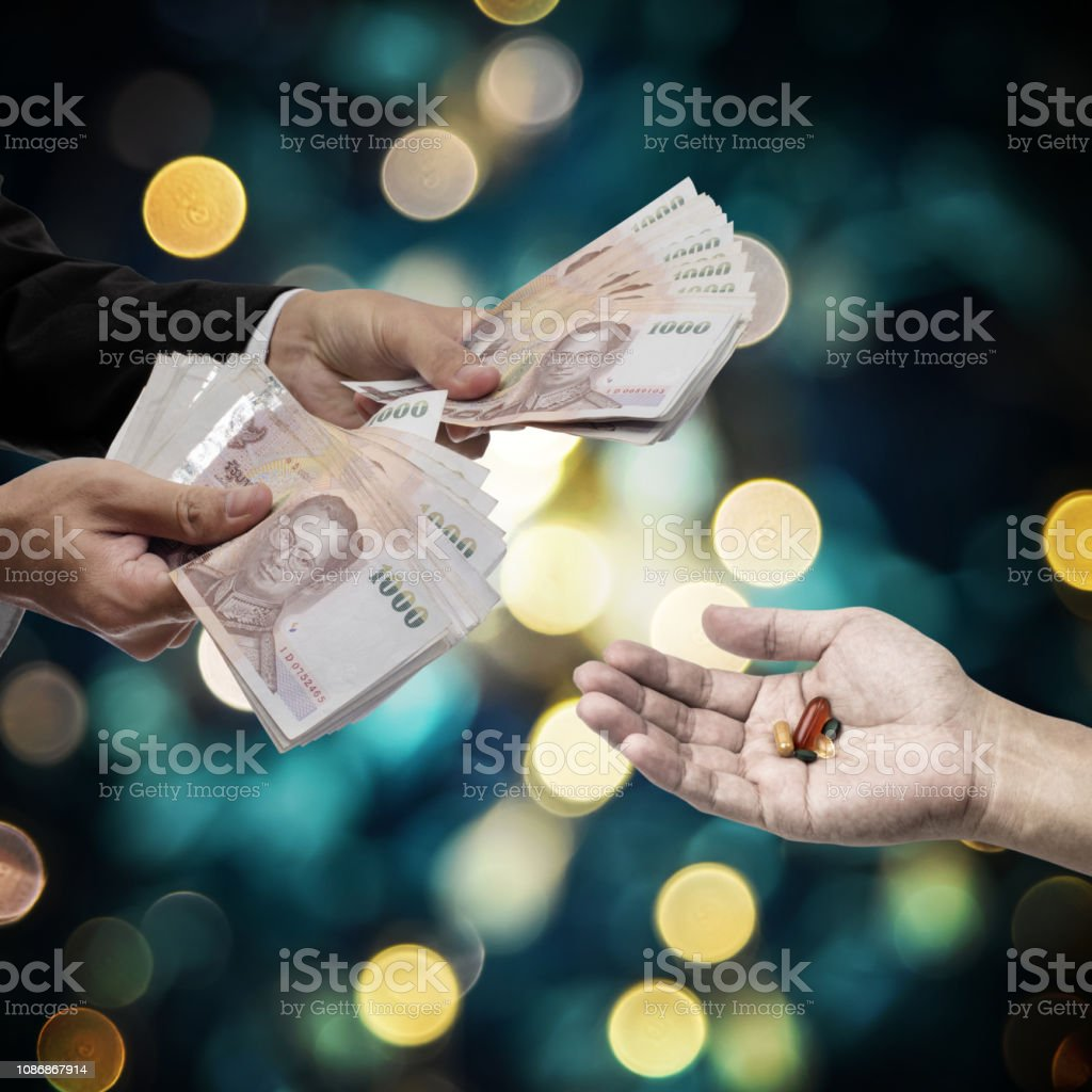 Medicine business concept, Business hand pay for drugs