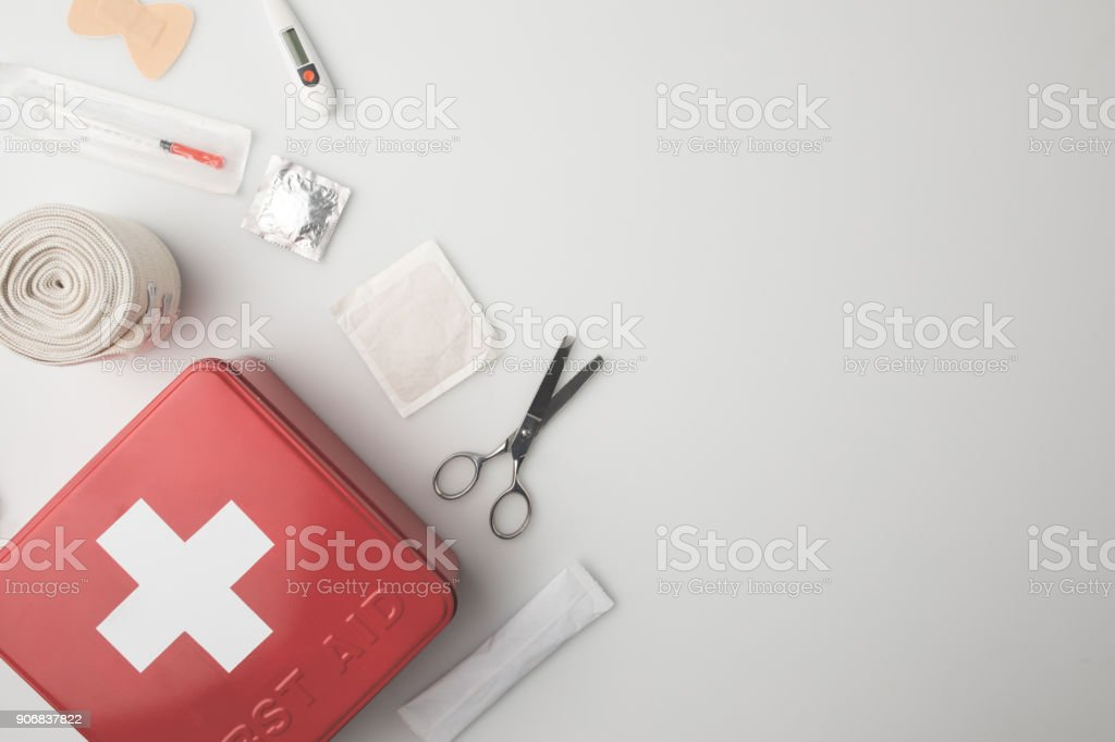 medicine chest with medical supplies stock photo