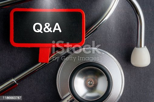 istock Q & A. Medicine concept. Blackboard with word Q & A and stethoscope 1186663787