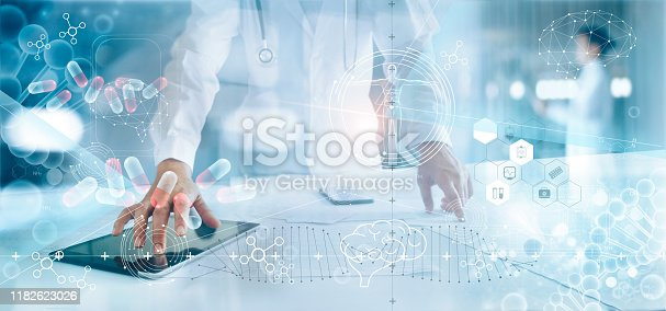 927897070istockphoto Medicine doctor analysis electronic medical record on interface display. DNA. Digital healthcare and network connection on hologram modern virtual screen, innovative, medical technology and network concept. 1182623026