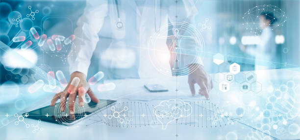Medicine doctor analysis electronic medical record on interface display. DNA. Digital healthcare and network connection on hologram modern virtual screen, innovative, medical technology and network concept. stock photo