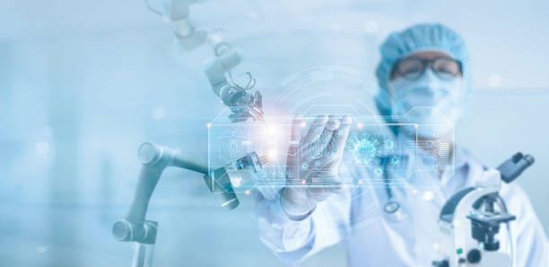 Medicine doctor and robotics research and analysis, Scientist diagnose checking coronavirus or covid-19 testing result with modern virtual screen in laboratory,  Medical technology and inhibition of disease outbreaks. stock photo