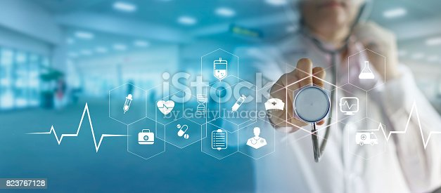 istock Medicine doctor and stethoscope in hand touching icon medical network connection   with modern virtual screen interface, medical technology network concept 823767128
