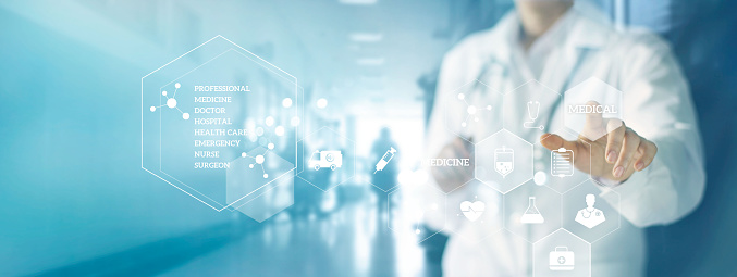 927897070 istock photo Medicine doctor and stethoscope touching icon medical network connection with modern virtual screen interface in hospital background. Medical technology network concept 927888610