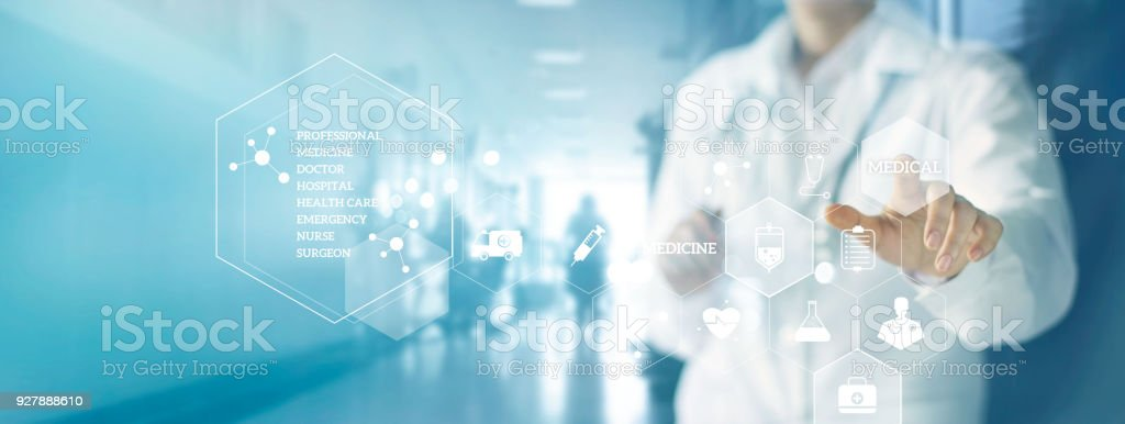 Medicine doctor and stethoscope touching icon medical network connection with modern virtual screen interface in hospital background. Medical technology network concept stock photo
