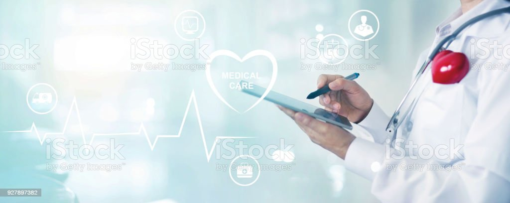 Medicine doctor and stethoscope touching information network connection on tablet interface and icon medical care. Medical service and technology concept stock photo