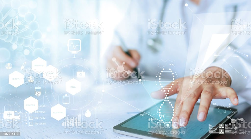 Medicine doctor hand touching computer interface as medical network connection with modern virtual screen, medical technology network concept stock photo