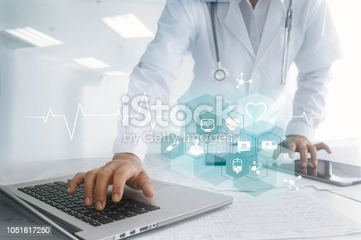 920406470 istock photo Medicine doctor hand touching laptop and tablet computer interface as medical network connection with icon modern on virtual screen, Digital healthcare, medical technology network and innovation concept 1051617250