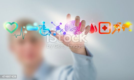 istock Medicine doctor hand working with modern computer interface as concept 474957428
