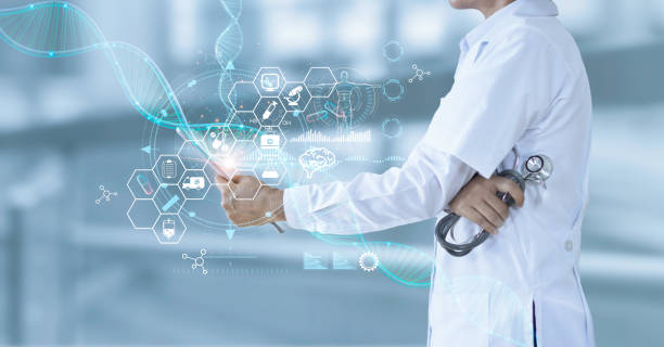 Medicine doctor holding electronic medical and record on tablet. DNA. Digital healthcare and network connection on hologram modern virtual screen interface, medical technology and futuristic concept. stock photo