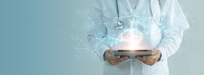927897070 istock photo Medicine doctor holding electronic medical record on tablet, Brain testing result, DNA, Digital healthcare and network connection on hologram interface, Science, Medical technology and networking. 1206799133