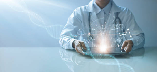 Medicine doctor holding electronic medical record on tablet. DNA. Digital healthcare and network connection on hologram virtual  interface, Science and innovative, Medical technology and network concept stock photo