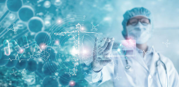 Medicine doctor holding hologram virtual interface electronic medical record. DNA. Analysis digital healthcare on network connection medical technology, Innovative and futuristic. Medicine doctor holding hologram virtual interface electronic medical record. DNA. Analysis digital healthcare on network connection medical technology, Innovative and futuristic. medical technology stock pictures, royalty-free photos & images