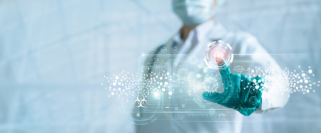 Medicine doctor push stop button outbreak and pandemic of coronavirus or covid-19 on modern virtual screen interface, Medical technology, Research and analysis, Diagnose checking inhibition of disease.