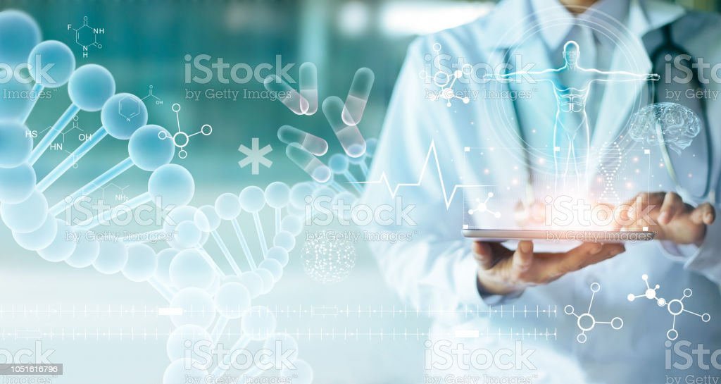 Medicine doctor touching electronic medical record on tablet. DNA. Digital healthcare and network connection on hologram modern virtual screen interface, medical technology and network concept. - Стоковые фото Анализировать роялти-фри