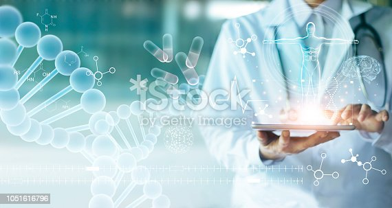 istock Medicine doctor touching electronic medical record on tablet. DNA. Digital healthcare and network connection on hologram modern virtual screen interface, medical technology and network concept. 1051616796