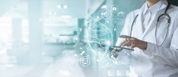 Medicine doctor touching electronic medical record on tablet. DNA. Digital healthcare and network connection on hologram modern virtual screen interface, medical technology and futuristic concept. Medicine doctor touching electronic medical record on tablet. DNA. Digital healthcare and network connection on hologram modern virtual screen interface, medical technology and futuristic concept. healthcare and medicine stock pictures, royalty-free photos & images